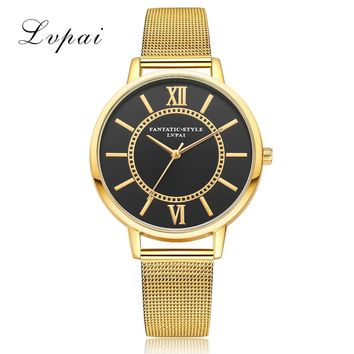 LVPAI Bracelet Clock Women's Quartz Wrist Watch Ladies Top Brand Fashion Stainless Steel Mesh Band Big Dial Watches Relogio #LH