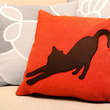 Stretching cat cushion cover - tangerine and dark brown - Made to Order