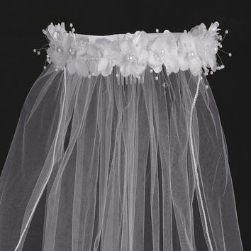 "White Flowers & Pearl Wreath 30"" Girls Communion Veil"