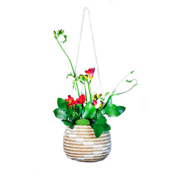 Indego Africa Natural Sweetgrass Hanging Basket