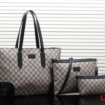 Gucci Women Fashion Leather Satchel Tote Shoulder Bag Crossbody Wallet Three Piece Set-2