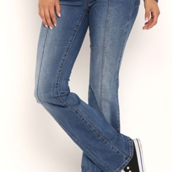 Stretch Yoga Inspired Medium Bootcut Jeans with Elastic Waistband