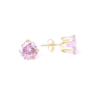 4 carat, 8mm Round Stud Earrings, Fancy Pink Man Made Diamond Simulant, 14k Gold Filled or 14k Gold, Birthstone, Bridal, Wedding