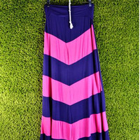 Navy and Fuchsia Chevron Maxi Skirt