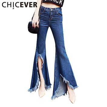 CHICEVER 2017 Summer High Waist Split Denim Trousers For Women Jeans Flare Pants Casual Blue Slim Women's Jean Pant Fashion New