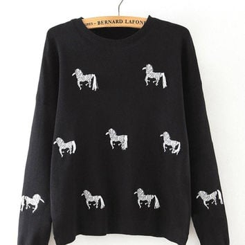 Black Zebra Print Sweater