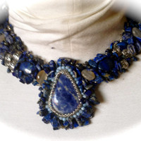 Bead Embroidered Collar - Lapis  Cabachon