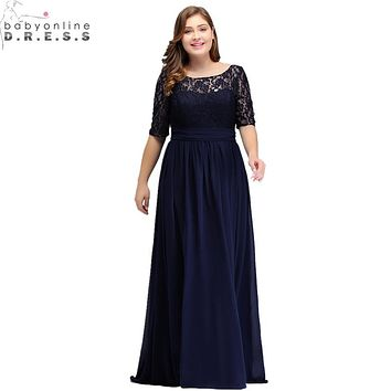 Elegant Half Sleeve Lace Long Evening Dress  Sexy Royal Blue V Back Evening Gowns