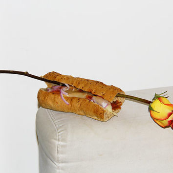 sensual ROSE with mildly customizable 6 inch Subway MEATBALL with red onions, black olives, and swiss cheese (Show them you love) Have silly