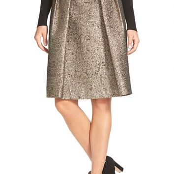 Women's Pink Tartan 'Tabitha' Metallic Cloque Skirt,