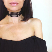 Black/White/Coffee Velvet Choker Necklace 6 layers Goth Gothic Handmade Ribbon Collar Necklaces Retro Burlesque Free Shipping