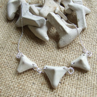 Modernist necklace - Scottish sea pottery kiln stilts in triangle shape on sterling silver necklace 21'' - sea pottery over 100 years old