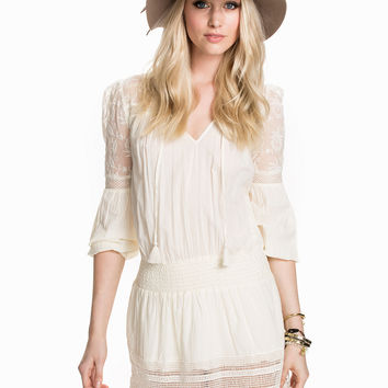 Cream Lace Sleeve Tie V-Neck Dress