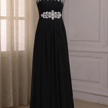 Black Chiffon Evening Dresses One-shoulder Sleeveless Beaded Crystals Sheath Party Prom Gowns Floor Length Zipper Back