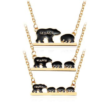 Personality Black Mama Bear Animal Necklace Mother Baby Kids Love Alloy Necklaces Mom and Children Family Simple Gift Jewelry