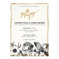 Glam Glitter Black and White Floral Wedding Invite