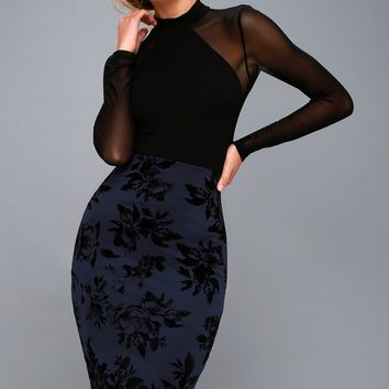 Enchantress Navy Blue Velvet Floral Print Bodycon Skirt
