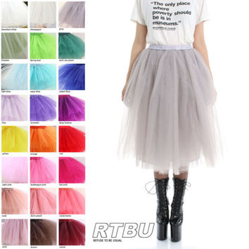 Custom Color Fashion Show Puffy Fairy Tutu Tulle Costume Long Skirt Below Knee