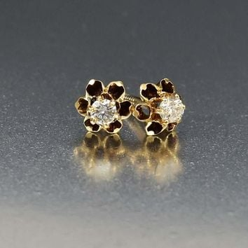 Antique 1/3 Ct Gold Diamond Stud Earrings C. 1910