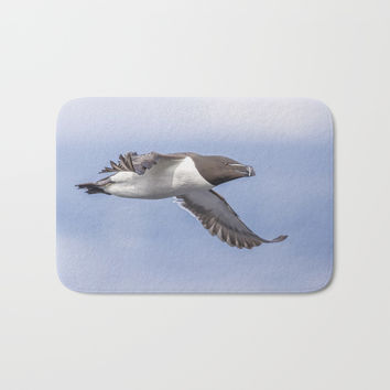 Razorbill in flight Bath Mat by Peaky40