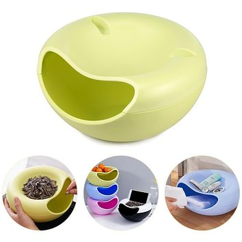 Two Layers Creative Fruit Dish Leisure Snacks Nut Melon Bowl Plastic Candy Plate Peels Shell Storage Tray Desk Phone Support Box