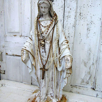 Virgin Mary statue embellished French Nordic large Madonna figure ornate religious decorations shabby cottage home decor anita spero design