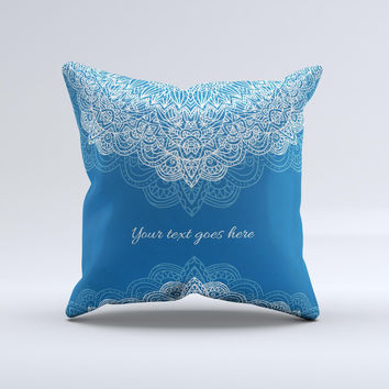 Intricate Blue & White Snowflake Name Script ink-Fuzed Decorative Throw Pillow