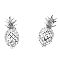 SOLID 14K WHITE GOLD HAWAIIAN DIAMOND CUT PINEAPPLE STUD POST EARRINGS