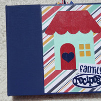 6x6 Family Recipe Book Scrapbook in Navy Blue Binder
