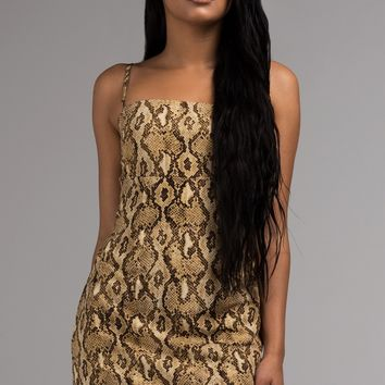 AKIRA Label Spaghetti Strap Mini Dress in Snake