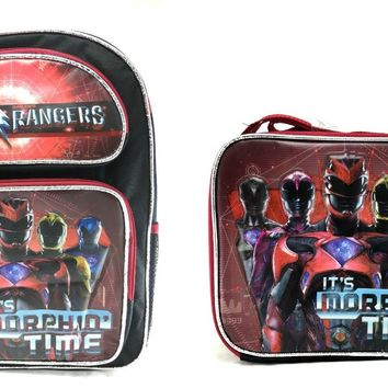 "Boys Saban's Power Rangers It's Morphin'Time 16"" School Backpack W/Lunch Bag Set"
