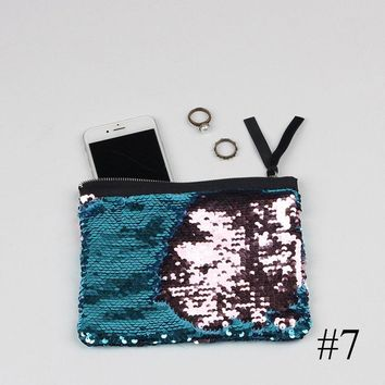 Women Reversible Sequins Mermaid Glitter Handbag Evening Clutch Bag Wallet Purse Storage Bag New 19*15cm