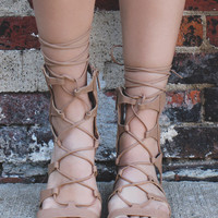 Laced Up Goddess Sandals - Natural
