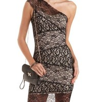 Black Combo Mixed Lace Bodycon Dress by Charlotte Russe