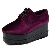 Marge Velvet Platform Creeper Shoes