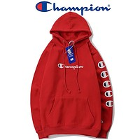 Champion 2018 autumn and winter models sketch large C embroidery string hooded sweater F-A-KSFZ red