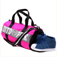 Victoria pink sports fitness yoga package hold-all duffel bag Black(white letters) Upgrade and shoes