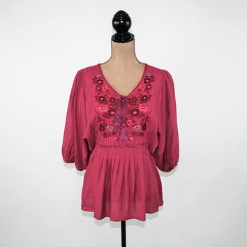 Hippie Top Boho Blouse Peasant Embroidered Shirt Dolman Sleeve Lace Up Top Burgundy Blouse Maroon Magenta Shirt Small Medium Womens Clothing