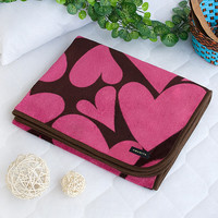 [Pink Heart] Japanese Coral Fleece Baby Throw Blanket (26 by 39.8 in)