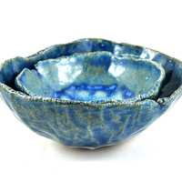 Ceramic Stoneware Nesting Bowls Set of Two Blue - Fused Blue Glass Feature - Handmade Pottery Rustic Pinch Pots - Salt & Pepper Cellars
