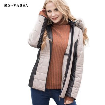 New Parkas Women jacket detachable hood fixed fur stand up collar ladies outerwear