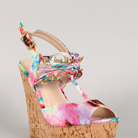 Bamboo Watercolor Knotted Embellished Cork Platform Wedge