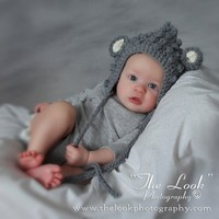 Melondipity Boys Cuddly Little Mouse Crochet Baby Hat - Gray Beanie, White Ears