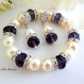 Amethyst Crystal Bracelet Earring Set Swarovski Pearl Purple Crystal Set Purple Wedding Bridal Bridesmaid Jewelry Mother of Bride Groom Gift