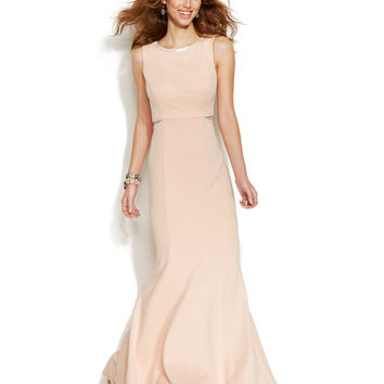 Xscape Jewel-Trim Cutout Scuba Gown