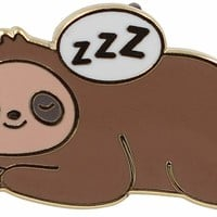 Sleepy Sloth Pin – Super Cute Stay in Bed Enamel Pin - Kawaii Animal Metal Lapel Pin - for Backpacks, Jackets, Hats & Tops - Unisex Gift