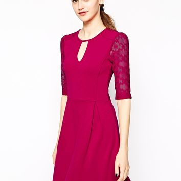 French Connection Valentine Dress with Lace Inserts