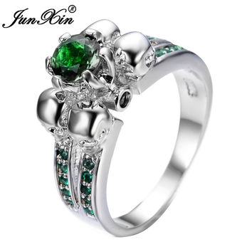 Gorgeous Emerald Skull Ring Vintage Wedding Rings For Women Fashion 925 Sterling Silver Jewelry Bague Femme Anies RW1221