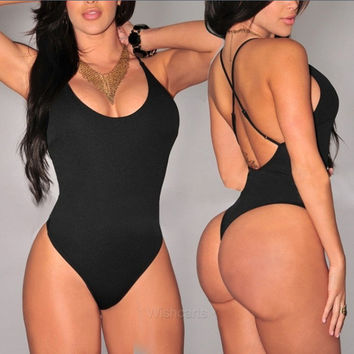 bikini 2017 Europe sexy solid color split body swimsuit sexy Deep V collar halter swimming suit for women plus size swimwear