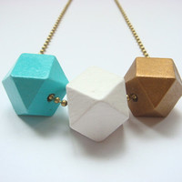 modern geometric hand painted wooden beaded necklace with antique brass ball chain